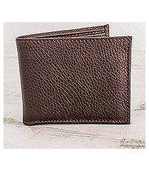 men's leather wallet, 'cocoa finance' (nicaragua)