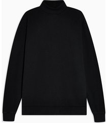 mens black roll neck sweatshirt