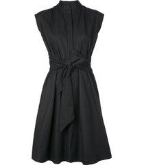 natori taffeta shirt dress - black