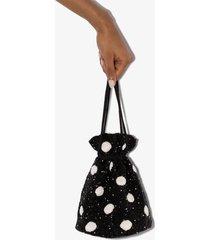 ganni beaded polka-dot bucket bag - black