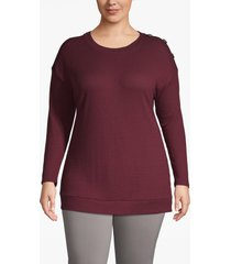 lane bryant women's waffle knit button-shoulder tee 26/28 windsor wine