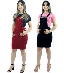 kit 2 jardineira salopete moda evangélica anagrom vermelha e preta