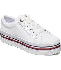 corporate flatform cupsole sneakers skor vit tommy hilfiger
