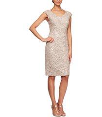 alex evenings cap-sleeve sequinned sheath dress