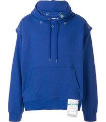 maison mihara yasuhiro press stud fastened hoodie - blue