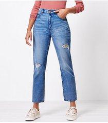 loft destructed high rise straight crop jeans in authentic light indigo wash