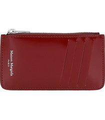 maison margiela wallet in bordeaux patent leather