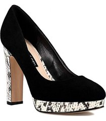 zapato cuero gamuza aioleta negro mujer nine west