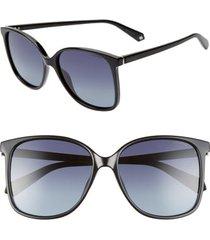 women's polaroid 57mm polarized sunglasses - black/ grey polarized
