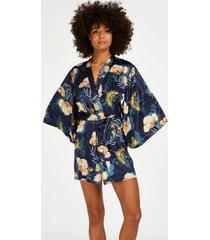 hunkemöller kimono med tropisk vadarfågel blå