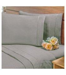 lençol com elástico cama viúva percal 400 fios 40cm altura cinza