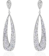 orecchini pendenti in acciaio forma goccia vuota con strass per donna