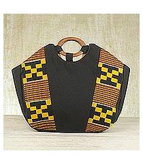 cotton kente tote handbag, 'money is sweet' (ghana)