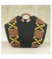 cotton kente tote handbag, 'money is sweet' (ghana)