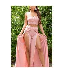 sexy zomer set- open broek + bandeau top roze