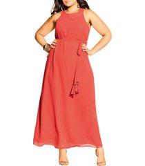 plus size women's city chic bliss maxi dress, size 20w - orange