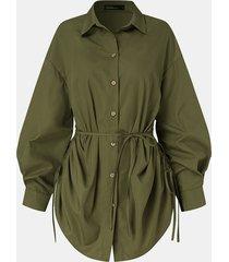 camicetta annodata con bottoni a maniche lunghe con risvolto tinta unita per donna