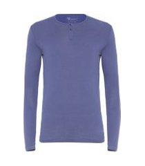 t- shirt masculina soho manga longa com 2 botões slim fit algodão pima - azul