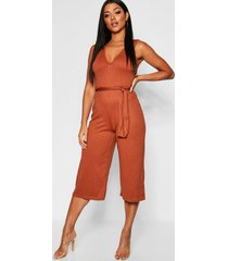 jumbo ribbed self belt culotte jumpsuit, tan