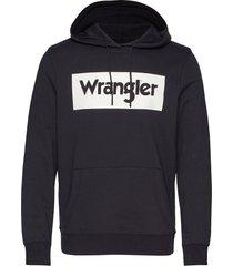 logo hoodie hoodie trui zwart wrangler