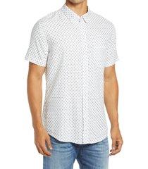 men's rails carson slim fit floral short sleeve linen blend button-up shirt