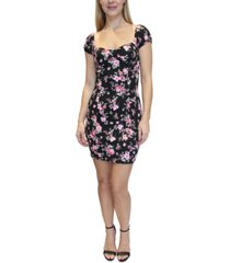 almost famous juniors' floral-print bodycon dress