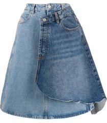 diesel wraparound a-line denim skirt - blue