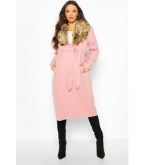 maternity faux fur collar belted wool look coat, pale pink