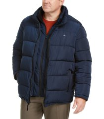 calvin klein men's big & tall full-zip puffer coat, created for macy's