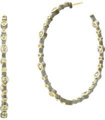 women's freida rothman teardrop embellished hoop earrings