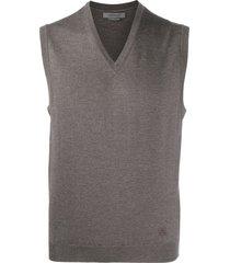 corneliani fine knit v-neck vest - brown