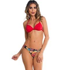 biquini com bojo e fivela na calcinha maré brasil vermelho multicolorido