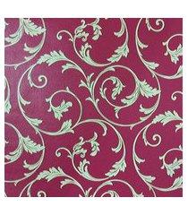 kit 3 rolos de papel de parede fwb lavável vermelho folhas bege