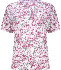 camiseta mujer flores rosadas