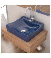 cuba de apoio p/banheiro compace lunna q44w retangular azul escuro
