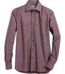 joseph abboud burgundy dobby modern fit sport shirt
