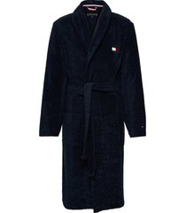 towelling robe morgonrock badrock blå tommy hilfiger