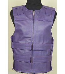 purple - leather - bulletproof style motorcycle vest