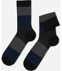 calzedonia patterned cotton ankle socks man black size tu