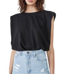 bardot shoulder pad muscle tee, size small in black at nordstrom