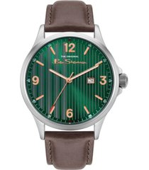 ben sherman men's brown genuine leather strap classic three hand watch, 44mm