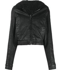 rick owens drkshdw coated cropped hooded jacket - black