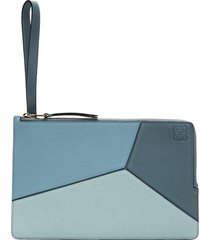 women's blue puzzle calfskin leather flat pouch clutch purse handbag