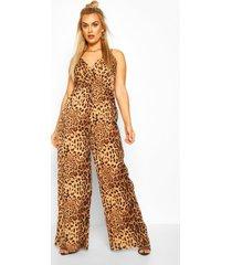 plus leopard print cami jumpsuit, brown