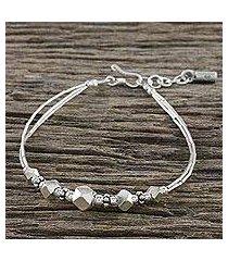 silver beaded bracelet, 'karen adventure' (thailand)