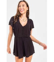 alani button front romper - black