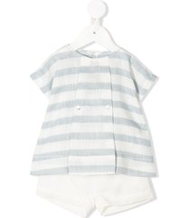 la stupenderia striped top and shorts set - white