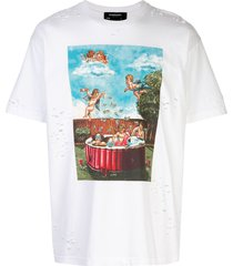 domrebel distressed pool party print t-shirt - white