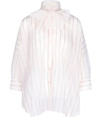 red valentino bow collar striped shirt