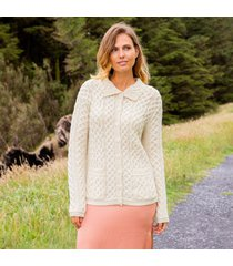 cream shandon aran cardigan - large